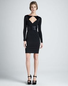 fashion & style - ShopStyle: Halston Front-Cutout Long-Sleeve Ponte Dress
