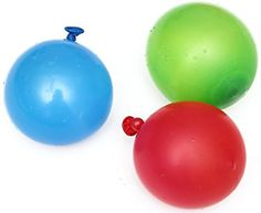 """Amazon.com: Cool & Fun {120 Count Pack} of 3"""" - 6"""" Inch """"Standard Size"""" Water Balloon Bomb Grenades Made of Latex w/ Non-Staining Dye Filled Burst Design {Red, Blue & Green} w/ Screw On Hose Attachment: Toys & Games"""