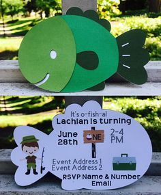 GONE FISHING Birthday Party Invitations in Green.  Your guests will be so excited for your Outdoors party with this awesome invitation!  Crafted using high quality Card Stock. This listing is for the GONE FISHING customized invitation. At time of checkout please include:  Childs name & age Date of Event Time of Event Location of Event RSVP info  Invitations are $2.00 each. [If there is something in particular that you would wish to add do not hesitate to contact StuckOnAuria to see what c...