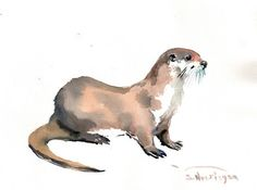 Otter Original watercolor painting 9 X 12 in river by ORIGINALONLY