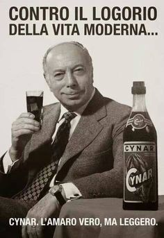 bitter Cynar - vintage poster with Ernesto Calindri, a famous Italian actor