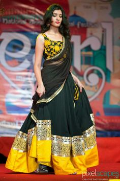 Black and Yellow: Amazing designs of lehngas from Varuna Jithesh from Hyderabad..