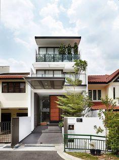 9 Rumah Teres Idaman Ideas Facade House Narrow House House Exterior