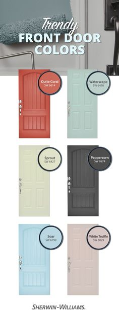 Give doors their due with trending hues from Sherwin-Williams.Tap this pin to explore popular paint colors for front doors and interior doors, from bright pastels to bold neutrals.#diy #doors #paint #inspiration #homerenovation #projects Front Door Paint Colors, Exterior Paint Colors For House, Painted Front Doors, Paint Colors For Home, Best Front Door Colors, Paint For Front Door, Colored Front Doors, Bright Front Doors, Bright Paint Colors