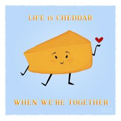 """Items similar to Cheesy Valentine """"Life is Cheddar"""" Single Card on Etsy Funny Food Puns, Food Humor, Food Jokes, Punny Puns, Puns Jokes, Cheese Puns, National Cheese Lovers Day, Cheesy Quotes, Last Halloween"""
