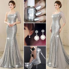 Latest Mermaid One-Shoulder Half Sleeve Sequins Beading #PartyDress #Earrings #Shoes #Heels #Fashion #Style