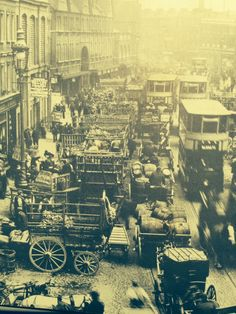 """Traffic jam near Spitalfields Markets London 1907  from """"City of London From Old Photographs"""" by James Howgego."""