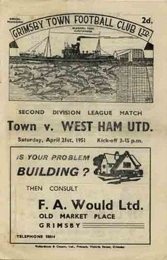 Grimsby 0 Middlesbrough 5 in Nov 1947 at Blundell Park. Grimsby Town Fc, North American Soccer League, Coventry City Fc, Ipswich Town, Blackburn Rovers, Cardiff City, Stoke City, Middlesbrough, Football Program