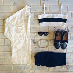 Can't get enough of that black and white tip! New Sammi Oversized Button Up • Brynn Bandeau • Black Skinnies • Retro Mod Cat Eye Sunglasses from @zerouv