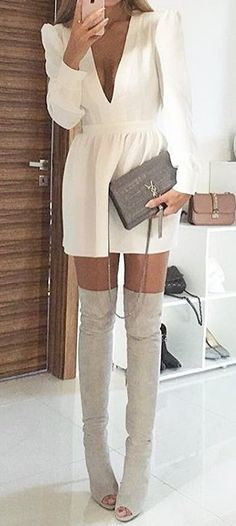 #cute #outfits White V-neck Dress // Grey Velvet Over The Knee Boots