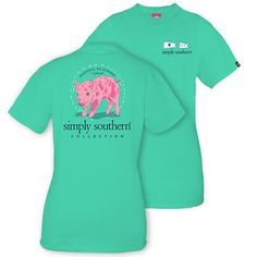 Simply Southern Women's Piglet T-shirt Aruba - L ($20) ❤ liked on Polyvore featuring tops, t-shirts, mult, cotton t shirts, logo tees, cotton tee, logo top and green tee