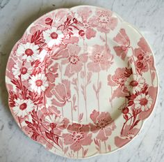 Red Pink Toile Plate English Transferware Scalloped Wood & Sons Daisie