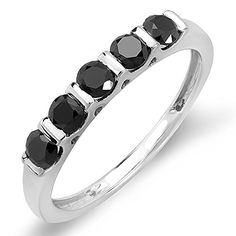 075 Carat ctw Sterling Silver Round Black Diamond Ladies Anniversary Wedding Stackable Band Ring 34 CT Size 9 ** Click image for more details.