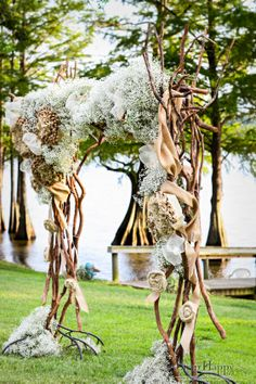 burlap wedding arch, babies breath, rustic arch, wedding arch, by Southern Event Planners in Memphis TN Burlap Wedding Arch, Rustic Wedding Backdrops, Rustic Wedding Reception, Wedding Ceremony Backdrop, Arch Wedding, Wedding Ideas, Orange Wedding Flowers, Rustic Wedding Flowers, Blue Wedding Centerpieces