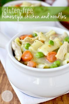 Gluten-Free Homestyle Chicken and Noodles is thick, comforting, and completely gluten-free, with the option to make dairy-free, too! | iowagirleats.com