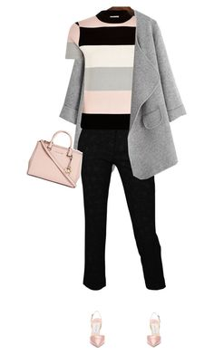 """#1013"" by celida-loves-pink ❤ liked on Polyvore featuring River Island, Jimmy Choo, Michael Kors, Pink, pinkandgrey and pinkfashion"