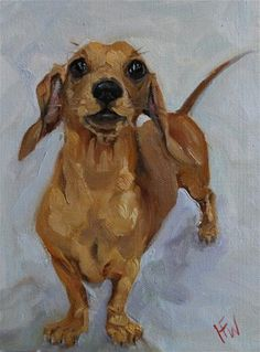 "Daily Paintworks - ""Cheeky Dachshund"" - Original Fine Art for Sale - © H. Animal Paintings, Animal Drawings, Art Drawings, Dog Artist, Dog Artwork, Dachshund Art, Crazy Dog Lady, Dog Portraits, Painting & Drawing"
