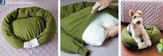 Dog or cat bed from a sweatshirt! DOGTV DIY dog bed - You will need: old sweatshirt, bed pillow, polyfill or other stuffing, and one lucky pet. Alter Pullover, Old Sweatshirt, Diy Dog Bed, Diy Bed, Pet Beds, Diy Stuffed Animals, How To Make Bed, Fur Babies, Diy Home Decor