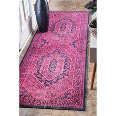 nuLOOM Vintage Persian Distressed Pink Runner Rug (2'8 x 8')