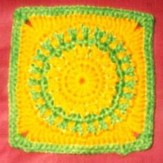 """Cool Flames Granny Square 6"""" ~ free pattern"""
