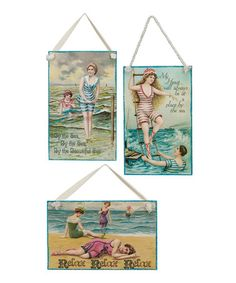 Take a look at this Beach Postcard Wall Art 3-Piece Set by Primitives by Kathy on #zulily today!