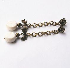 white CORAL dangle earrings EXTRA LONG earrings by kaktusia