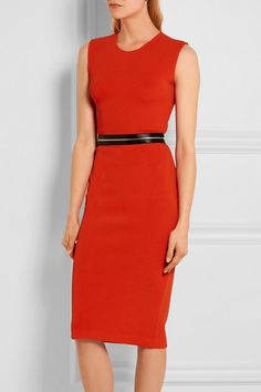 Red stretch-jersey  Concealed zip fastening along back  50% polyamide, 50% viscose Dry clean  Imported