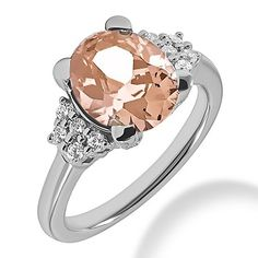 Jewelry Point - 3.11ct Oval Peach Pink Morganite & Diamond Engagement Ring