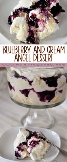This heavenly blueberry and cream angel dessert is a mess of heaven on a plate. This heavenly blueberry angel food cake dessert is light and delicious! So simple to prepare, it is the perfect ending to any meal (I always get asked for the recipe! Angel Food Cake Desserts, Desserts Nutella, Food Cakes, Easy Desserts, Delicious Desserts, Yummy Food, Birthday Desserts, Angel Food Cake Toppings, Fruit Trifle Desserts
