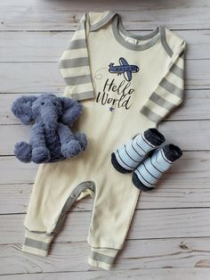 2885971cdf Take Me Home Gowns · Hello World Grey Stripe Romper for your new baby boy!  Find the most adorable take