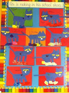 Read Write Sing: September Art...With Book Connections! Pete the Cat: good for K1 or Kindergarten. Can also listen to story on YouTube and do art project with cats.