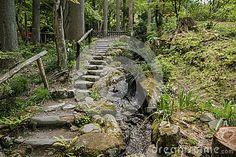Garden walkway in Sanzen-in Temple complex in Ohara. Kyoto, Japan.