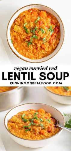 This nourishing, vegan lentil soup is easy to make in about 30 minutes with simple, everyday ingredients. Curried Lentil Soup, Vegan Lentil Soup, Lentil Curry, Easy Vegan Soup, Lentil Soup Recipes, Vegan Curry, Vegan Soups, Real Food Recipes, Vegan Recipes