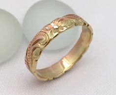 14K Gold Ring Traditional Hawaiian Hand Engraved (4mm Width, Flat Style)