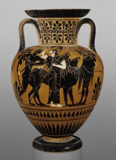 Attic Black-Figure Neck Amphora. Artist/Maker(s): Attributed to Leagros Group (Greek (Attic), active 525 - 500 B.C.). Culture: Greek (Attic). Place(s): Athens, Greece (Place created). Date: about 510 B.C. Medium: Terracotta.