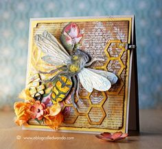 Layered Bee Card by Wanda Guess - Tim Holtz and Sizzix Supplies!