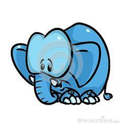 Blue Elephant parody cartoon illustration  isolated image character  animal