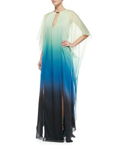 V-Neck Ombre Caftan with Sheer Overlay & Dangle Charm Necklace by Halston Heritage at Neiman Marcus.