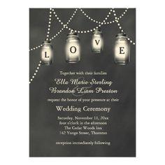 Love Mason Jars on Chalkboard Wedding Invitation Custom Invitation