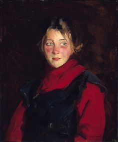 Irish Girl (Mary O'Donnel), Robert Earle Henri (American, Oil on canvas. Museum of Fine Arts, Boston. Henri complemented the ruddiness of O'Donnel's complexion with her brilliant red. American Realism, American Art, Ashcan School, Robert Henri, Irish Girls, Paintings I Love, Art Paintings, Museum Of Fine Arts, Female Portrait