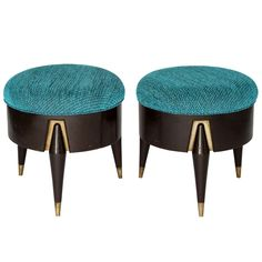 1950s Mexican Modern Eugenio Escudero Upholstered Stools | From a unique…