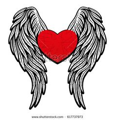Angel Wings stock photos and royalty-free images, vectors and illustrations Memorial Tattoos Mom, Angel Wings Painting, Moon Sun Tattoo, Dad Tattoos, Tatoos, Angel Decor, Heart With Wings, Most Popular Tattoos, Feather Tattoos