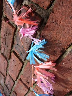 Pink, blue and coral tissue tassels from the Lorelai collection  Luxury paper decorations by Paper Street Dolls  Check out our store - paperstreetdolls.etsy.com
