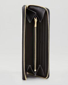 Large Zip Multifunction Wallet, White