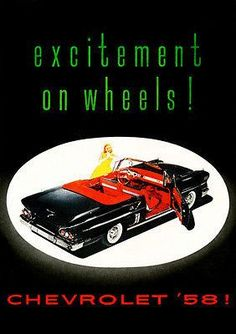 1958 Chevrolet - Excitement On Wheels - Promotional Advertising Poster