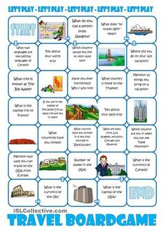 The board game is about travel and travelling. You can make it fit your students as it is fully editable. It is always nice to bring a little fun into the lessons and this board game will provide fun. - ESL worksheets