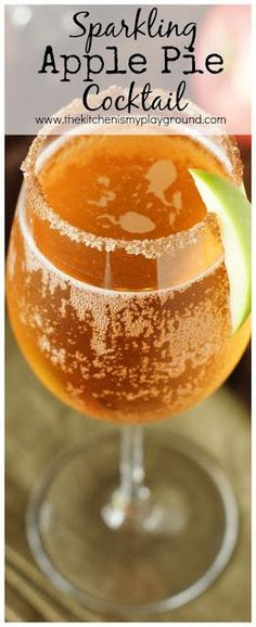 Sparkling Apple Pie Cocktail ~ This may just be the perfect fall cocktail!   www.thekitchenismyplayground.com