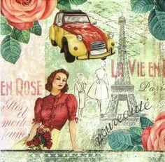 4 xSingle Luxury Paper Napkins for Decoupage and Craft Vintage La Vie