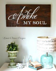Awake my soul wood sign