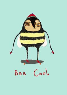 Children's Art Bee Cool Limited edition art by by AshleyPercival I Love Bees, Bee Art, Busy Bee, Save The Bees, Bee Happy, Bees Knees, Bee Keeping, Queen Bees, Art Prints